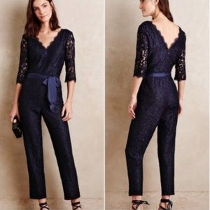 Anthropologie Elevenses Navy Lace-Sleeve Jumpsuit